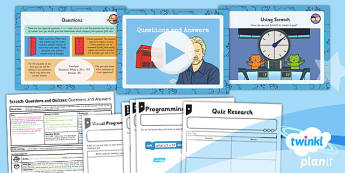 PlanIt Computing Y4 Scratch Questions Quizzes Lesson 1 Question Answer Pack