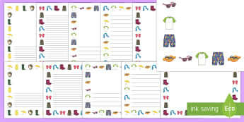 Clothes-Themed Page Border Pack - EYFS, Early Years, Clothes, Clothing, Getting Dressed, Mark Making, Writing, Literacy, T-Shirt, Jump