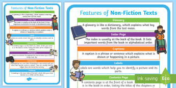 KS1 Features of a Non-Fiction Text Display Poster - Y2, information text, contents, index, captions, subheadings, headings, glossary, labels, photograph