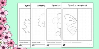 Arkusz Symetryczny obrazek po polsku - dorysuj, worksheet