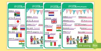 Fremdsprachen Willkommen Schilder für die Klassenraumgestaltung - Fremdsprachen Willkommen Schilder für die Klassenraumgestaltung, Willkommen Schilder, Fremdsprachen