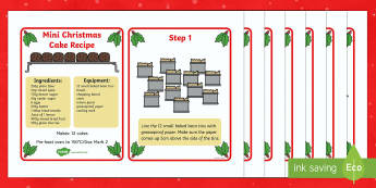 Mini Christmas Cake Recipe Cards - recipe cards, recipe, christmas cake, how to make a christmas cake, mini christmas cake, instructions, recipes for kids, kids recipes, cooking, baking, baking for kids, flashcards, recipe information, method