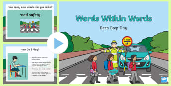 KS1 Words Within Words Beep Beep Day PowerPoint - Apply spelling rules and guidance, as listed in English Appendix 1, Spellings, Words Within Words, P