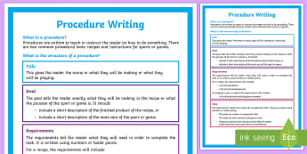 Year 5 Procedure Writing Structure A4 Display Poster-Australia - Literacy, procedure, instructions, recipe, features, poster, writing,Australia