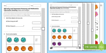 CfE Early Level Assessment Numeracy and Mathematics   Information Handling Activity Sheet-Scottish