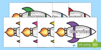 Nazwy miesięcy na rakietach - rakieta, kosmos, rakiety, przestrzeń, kosmiczna, gwiazdy, księżyc, słońce, planety,,miesiące,