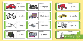 Transport Loop Cards Spanish - Spanish, Vocabulary, KS2, transport, loop, cards,Spanish