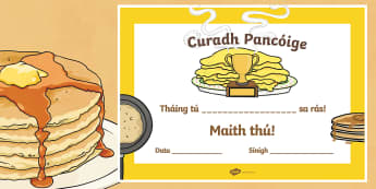 Pancake Tuesday Irish Certificate - Pancake Tuesday, Pancakes, Lent, Pancake Champion, Irish, Gaeilge, ROI,Irish, reward, well done