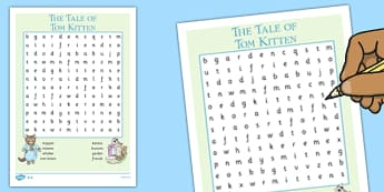 Beatrix Potter - The Tale of Tom Kitten Wordsearch - beatrix potter, tom kitten