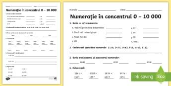 Numerația 0-10000 Fișă de lucru-Romanian - matematică, fișă de lucru, numerație, evaluare inițială, 0-10000, Romanian