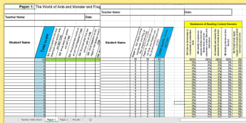 Y2 Reading Analysis Grid for KS1 2016 SATs Sample Paper Assessment Spreadsheet - SATs Survival Materials Year 2, SATs, assessment, 2017, English, SPaG, GPS, grammar, punctuation, sp
