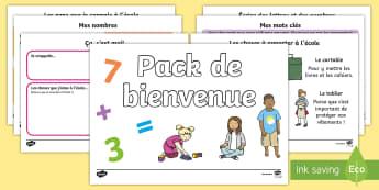 Pack de bienvenue Cycle 1/2 - Rentrée, école, classe, cycle 1, cycle 2, septembre, premier jour, welcome pack,French
