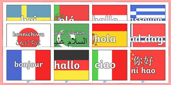 Hello on A4 Flags Languages - languages, hello, french, spanish, german, flags, A4, how to say hello, poster, sign, banner, display, italian, dutch