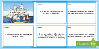 Free Settlers Question Cards - Settlement, Colony, Research, Resources, Australia,Australia