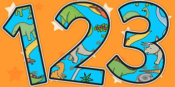 Dinosaur Themed A4 Display Numbers - dinosaurs, number, display