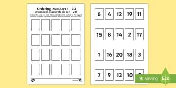 Ordering Numbers 1 to 20 Game English/Romanian - Ordering Numbers Game 1 to 20 - order, number, maths, activity, numbes, nubers, matsh, seriation,Rom