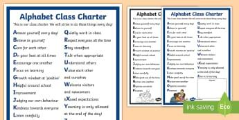 KS2 Alphabet Class Charter Display Poster - responsibilities, writing class charters, rules, citizenship, agreements