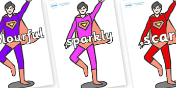 Wow Words on Superheroes (Multicolour) - Wow words, adjectives, VCOP, describing, Wow, display, poster, wow display, tasty, scary, ugly, beautiful, colourful sharp, bouncy