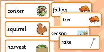 Autumn Pre-Teaching Word Cards - autumn, pre-teaching, word cards