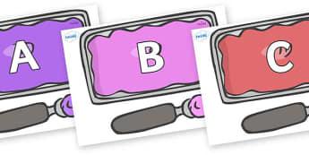 A-Z Alphabet on Ice Cream Tubs - A-Z, A4, display, Alphabet frieze, Display letters, Letter posters, A-Z letters, Alphabet flashcards