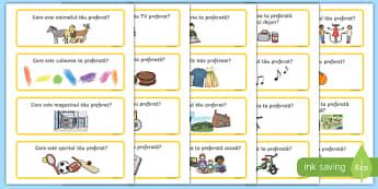 Întrebări despre preferințe, Cartonașe