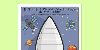 What Would I Take to Space Rocket Writing Frame Polish Translation - polish, what, take, space rocket, writing frame, writing, frame