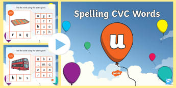 CVC Words U Spelling PowerPoint - cvc, words, u, spelling, powerpoint