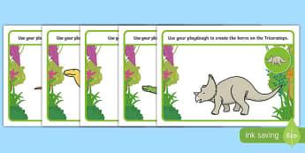 Dinosaurs Playdough Mats - Dinosaur, playdough, mat, history, t-rex, stegosaurus, raptor, iguanodon, tyrannasaurus rex