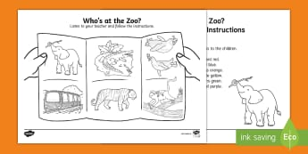 Who's at the Zoo? Listen and Colour Activity - exploring my world, Aistear, Play, Zoo, Animals, oral language, following instructions, colours,Iris