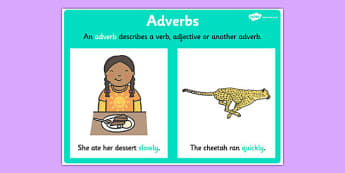 Adverb Display Poster - adverb display, grammar, literacy, vocab
