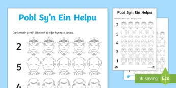 Gweithgaredd Cyfri a Lliwio Pobl Sy'n Ein Helpu - pob, helpu, cyfri, rhifau, rhifedd, mathemateg, cymuned,Welsh