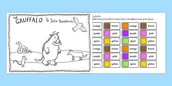 The Gruffalo Colour Labels Activity - gruffalo, colour, labels, activity, colour labels, gruffalo labels, gruffalo activity, colouring, colours activity