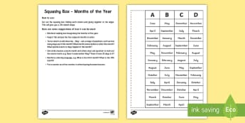 Squashy Boxes Months of the Year Craft - Mental Maths Warm Up + Revision - Northern Ireland, squashy boxes, months of the year.