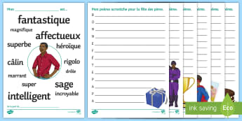 Father's Day Acrostic Poems French - KS3 French Father's Day, fête, pères, writing, creative, fun, skills, acrostic, poem.,French
