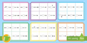El número que falta   Multiplicación y división Bingo - multiplicar, dividir, mates, matemáticas, multiplciación, división, tablas de multiplicar, tabla