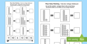Place Value Tens and Ones Cut and Stick Activity Sheet English/German - numbers, counting, maths, EAL, German, English-German,,German-translation