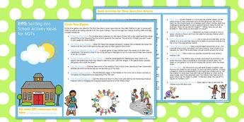 EYFS Settling into School Activity Ideas for NQTs - eyfs, school, activity, nqt