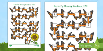 Butterfly Missing Numbers 1-20 Activity Sheet - USA Early Childhood Science: Life Cycles, butterfly, number order, Worksheet, counting, number recog