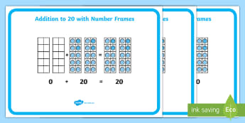 CfE Addition to 20 with Number Frames Display Posters - CfE Addition with Number Frames, maths numeracy intervention, number counts, maths recovery, number