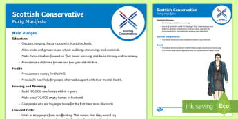 Scottish Conservative Party 2017 Manifesto Child Friendly Guide - Elections, politics, politicians, Scottish, government, Holyrood, voting, child friendly language, s