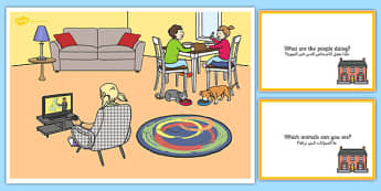 At Home Scene and Question Cards Arabic Translation - arabic, at home, questions, comprehension pack