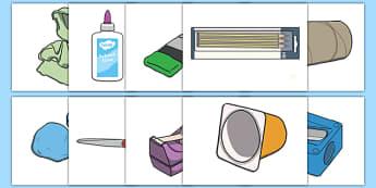Art Equipment Cut Outs - design, display, fine motor skills, brushes, paint, clay, knife, modelling, model, ks1, ks2,