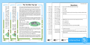 The Terrible Trip Up  Differentiated Comprehension Go Respond  Activity Sheets - Sports Day, P.E., Race, Story, Fiction, Teamwork, Interactive, Questions