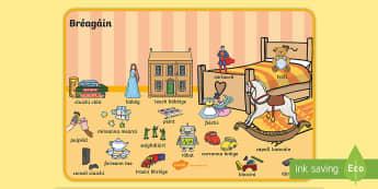 Bréagáin, Picture Word Mat Gaeilge - Gaeilge, Irish, toys, bréagáin, caitheamh aimsire, hobbies,Irish