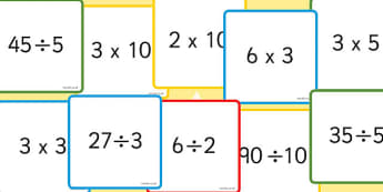 Multiplication and Division 2x, 3x, 5x, 10x Number Sentence Cards