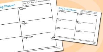 Sensory Story Setting Planner - sensory story setting planner, story setting, planner, plan, sensory, plot, story, writing, setting, sounds, smlls, sights