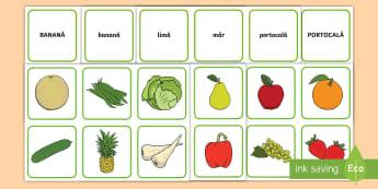 Fructe și legume Joc de punere în corespondență: cuvânt - alfabet, citire, alfabetizare, legume, recoltă, litere, Romanian