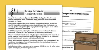 George Gershwin Reading Comprehension Activity - comprehension, gershwin