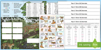 Year 5 Wild Cat Themed Spelling Menu Pack - spag, gps, home learning, weekly, lists, test,