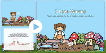 I Love Worms Song PowerPoint - EYFS, Early Years, Key Stage 1, KS1, songs, music, minibeasts, insects, bugs, creepy crawlies, spide